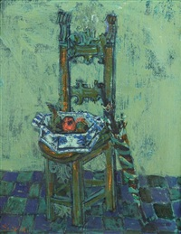 nature morte a la chaise bleue by paul aïzpiri