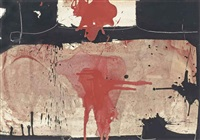 composition noir, rose et rouge by manolo millares