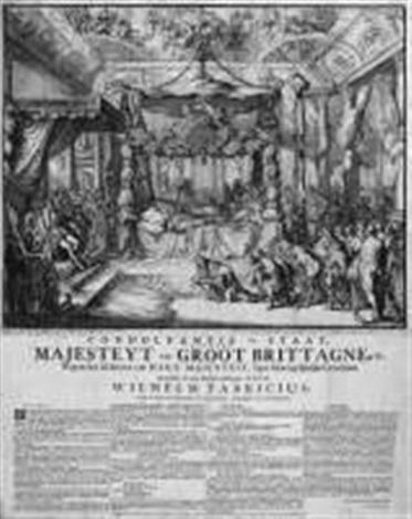 le lit mortuaire de la reine from funeralia mariae reginae funérailles de mary stuart reine dangleterre by romeyn de hooghe