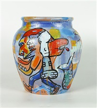 beschilderde vaas, uniek stuk by fred bervoets