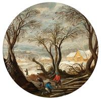 winterlandschaft mit holzfällern by abel grimmer