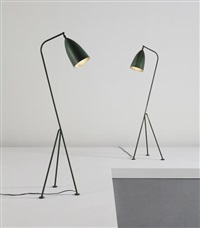 pair of grasshopper floor lamps, model no. 831 by greta magnusson grossman