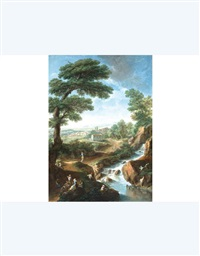 paesaggio fantasioso con rovine e figure (+ 3 others; 4 works) by paolo anesi and paolo monaldi