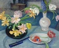 still life with tulips by claire goedewaagen-bonebakker