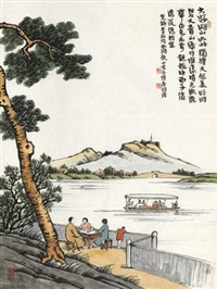 大好湖山图 by feng zikai
