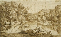 paysage fluvial animé by abraham genoels