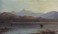 view of a highland lake with fishermen hauling in their catch by william mcevoy