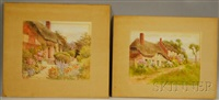 cottages in summer (2 works) by jane brewster reid