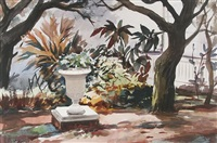 garden scene (+ tropical lagoon; 2 works) by vladimir pavlosky