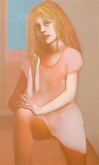 girl with ribbon in a pink dress by graham ovenden