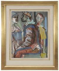 seated harlequin with two figures by josef presser
