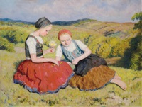 girls in the field by oszkár glatz