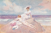 sunbathing on a rocky outcrop by norman alfred williams lindsay