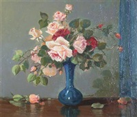 still life with pink and red roses by tom campbell