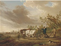 oxen harnessed to a plough by charles towne
