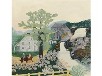 the old grist mill in old shandoah by grandma moses