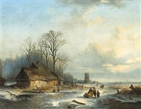 figures on a frozen canal with a windmill in the distance by louis smets