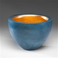 blue bowl with gold interior by nicholas rena