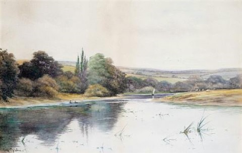 fishing on the river bend by george oyston