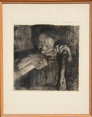 beim dengeln whetting the scythe plate 3 from the bauernkrieg series by käthe kollwitz