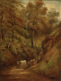 lane at pulborough, sussex by henry (sr.) earp