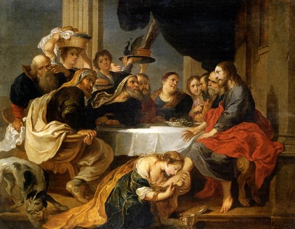 maría magdalena perfumado los pies de cristo cristo en casa de simón el fariseo by victor wolvoet