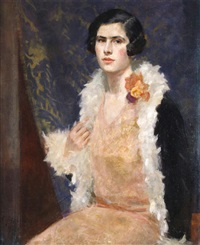 portrait of a lady in evening dress by cedric j. kennedy