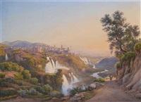 veduta di tivoli con le cascatelle e la villa di mecenate by salomon corrodi