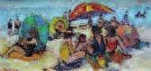 plage au parasol rayé by roland lefranc