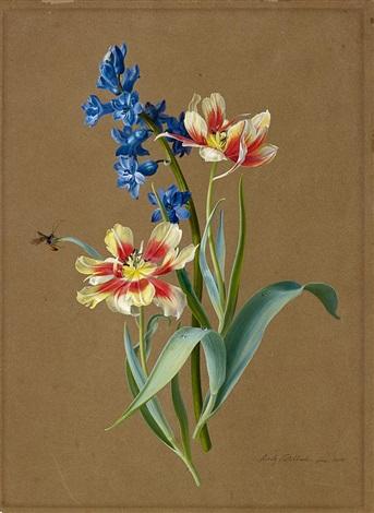 blumenstillleben mit tulpen und hyacinthen by moritz tettelbach