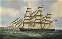 the clipper john r. worcester outward-bound from the clyde off pladda island by samuel holburn fyfe