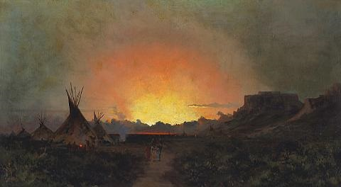 a sunset in wyoming by jules tavernier