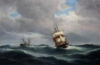 een stoomboot en een zeilschip op volle zee by carl ludwig bille