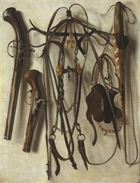 a trompe l'oeil of hunting equipment, including a bridle, pistols, whip, and spurs, hanging on a wall by christoffel pierson