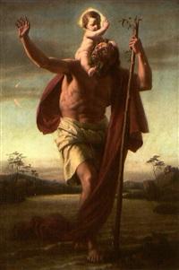 der hl. chrisophorus trägt das christuskind durch die reißenden fluten by friedrich geselschap