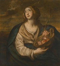 saint dorothy with a basket of fruits and flowers and a palm by niccolò de simone