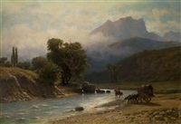 crossing the river in the caucasus mountains by lev felixovich lagorio