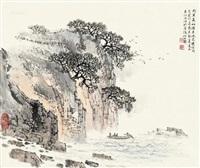 东坡赤壁图 立轴 设色纸本 by song wenzhi