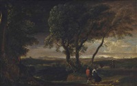 an extensive landscape with travellers on a track by herman van swanevelt