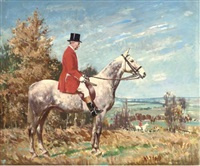 portrait of george campbell esq., on a dappled grey hunter by frederic whiting