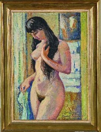 femme aux longs cheveux à sa toilette by franck innocent