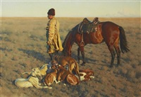 stäppryttare med vilande vinthundar och häst by hugo ungewitter
