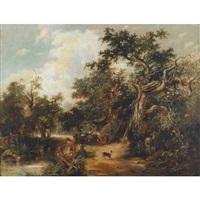gypsies fishing from a stream with horse and wagon by arthur james stark
