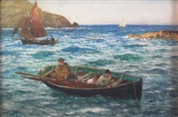 fishing boats off polperro, cornwall by john robertson reid