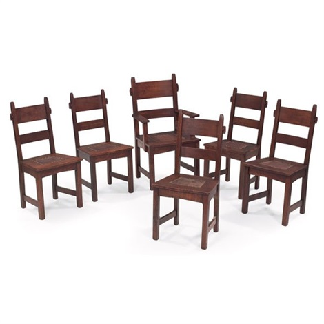 dining chairs set of 6 by gustav stickley