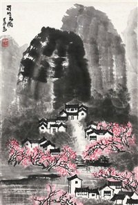 蜀山春雨 镜心 设色纸本 (spring rain of sichuan) by li keran