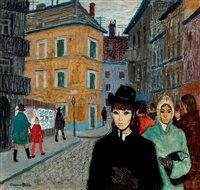 steet scene with young girl by bela czene