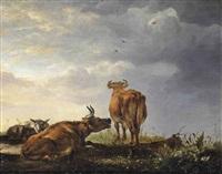 resting cattle in a landscape by cornelis van lelienbergh