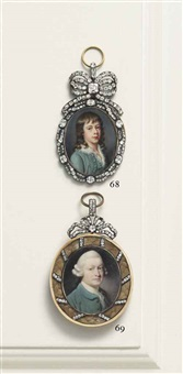 sir elijah impey, (1732-1809), in green coat and waistcoat, frilled cravat, powdered hair en queue by ozias humphry
