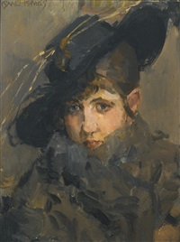 a lady in a hat with a fur collar by isaac israels